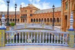 Seville Sevilla Plaza de Espana Andalusia Spain. Seville Sevilla Plaza de Espana ceramic balustrade Andalusia Spain square Stock Photo
