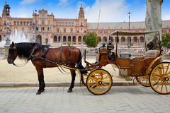 Seville Sevilla Plaza de Espana Andalusia Spain. Seville Sevilla Plaza de Espana  horse carriages Andalusia Spain square Stock Images