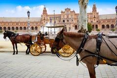Seville Sevilla Plaza de Espana Andalusia Spain. Seville Sevilla Plaza de Espana  horse carriages Andalusia Spain square Stock Image