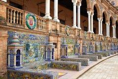 Seville Sevilla Plaza de Espana Andalusia Spain. Seville Sevilla Plaza de Espana provincial bench Andalusia Spain square Stock Image