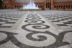 Seville Sevilla Plaza de Espana Andalusia Spain. Seville Sevilla Plaza de Espana stone mosaic floor Andalusia Spain square Stock Image