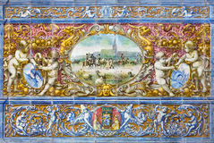 Seville - The Seville image as one part of The tiled 'Province Alcoves' along the walls of the Plaza de Espana Stock Image
