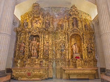 Seville - The side baroque altar in Church of El Salvador (Iglesia del Salvador). Royalty Free Stock Photography