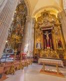 Seville - sidoaltaret av El Cristo del Amor av Juan de Mesa (1620) i barockkyrka av El Salvador (Iglesia del Salvador) royaltyfri bild