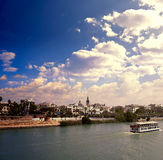 Seville skyline and Alfonso XIII channel Andalusia Royalty Free Stock Photo