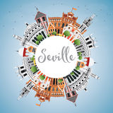 Seville Skyline with Color Buildings, Blue Sky and Copy Space. Stock Photos