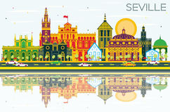 Seville Skyline with Color Buildings, Blue Sky and Reflections. Stock Photos