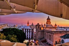 Seville skyline puts on a majestic show Royalty Free Stock Photos