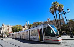 Seville, Spain, Andalusia, tram transport Royalty Free Stock Photo