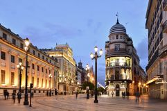 Old town street at dusk in Seville Spain royalty free stock photo