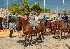 SEVILLE, SPAIN - April, 25: Horse riders at the Seville's April Royalty Free Stock Photos