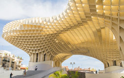 Seville, Spain, April 2015: Metropol Parasol is a wooden structu Royalty Free Stock Photography