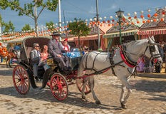 Parade of carriages at the Seville's April Fair Royalty Free Stock Photo