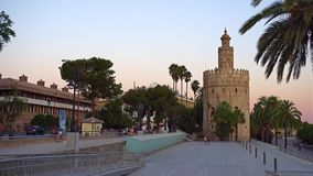 Gold tower in Seville stock video footage