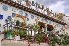 Seville, Spain. Blooming balcony in Seville, Spain. View from outside Stock Images