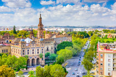 Seville, Spain. Cityscape towards Plaza de Espana royalty free stock photo