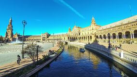 Panorama of Plaza de Espana in Seville, Andalusia, Spain. SEVILLE, SPAIN - DECEMBER 16, 2017: Panoramic view of the Spain Square Plaza de Espana in Seville stock video