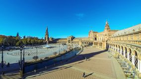 Panorama of Plaza de Espana in Seville, Andalusia, Spain. SEVILLE, SPAIN - DECEMBER 16, 2017: People walking on the Spain Square Plaza de Espana in Seville stock video