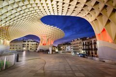 Seville, Spain - February 16, 2017: The Metropol Parasol structure designed by the german architect J.Mayer and completed in 2011. Cityscape From the Metropol Stock Photo
