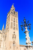 Seville, Spain. Giralda tower, famous bell tower of the Cathedral of Seville, Andalusia, Spain Stock Photos