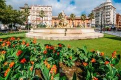 Fountain of Hispalis with nereid sea nymphs, Fuente Hispalis, in Puerta de Jerez royalty free stock photo