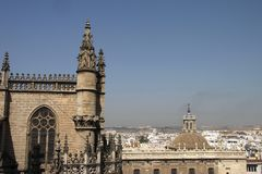 Fragment of the Cathedral in Seville. SEVILLE, SPAIN - JULY 27, 2011: Fragment of the Cathedral in Seville stock photo