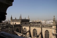 Fragment of the Cathedral in Seville. SEVILLE, SPAIN - JULY 27, 2011: Fragment of the Cathedral in Seville stock image