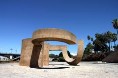 Monument to the Tolerance of Eduardo Chillida next to the river Guadalquivir in the city of Seville. SEVILLE, SPAIN - JULY 17, 2011: Monument to the Tolerance royalty free stock images