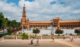 Spain Square, Plaza de Espana, is in the Public Maria Luisa Park, in Seville. It is a landmark example of the Renaissance Revival royalty free stock photography