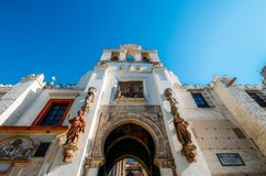 Wide angle view of Portal el Perdon or the Door of Forgiveness of the Seville Cathedral. Seville, Spain - July 14th, 2018: Wide angle view of Portal el Perdon or royalty free stock images