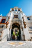 Wide angle view of Portal el Perdon or the Door of Forgiveness of the Seville Cathedral. Seville, Spain - July 14th, 2018: Wide angle view of Portal el Perdon or stock images