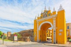 Arco de la Macarena on Wall of Seville Muralla almohade de Sevi. Seville, Spain- June 08, 2017 : Arco de la Macarena on Wall of Seville Muralla almohade de Stock Images