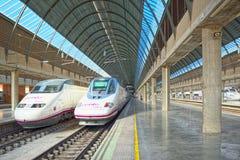 Modern hi-speed passenger train of Spanish railways company-Renf. Seville, Spain - June 08, 2017 : Modern hi-speed passenger train of Spanish railways company stock image