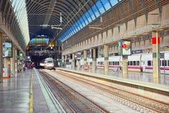 Modern hi-speed passenger train of Spanish railways company-Renf Stock Photo