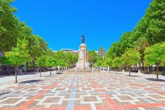 New Square Plaza Nueva and monument of  Fernando III The Saint. Seville, Spain- June 08, 2017 : New Square Plaza Nueva and monument of  Fernando III The Saint Stock Photo