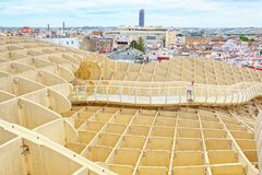 Panoramic view of the city of Seville from the observation platf. Seville, Spain - June 08,2017: Panoramic view of the city of Seville from the observation Stock Photo