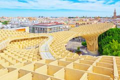 Panoramic view of the city of Seville from the observation platf. Seville, Spain - June 08,2017: Panoramic view of the city of Seville from the observation Royalty Free Stock Photos