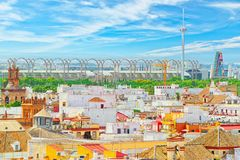 Panoramic view of the city of Seville from the observation platf. Seville, Spain - June 08,2017: Panoramic view of the city of Seville from the observation Stock Photography