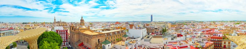 Panoramic view of the city of Seville from the observation platf. Seville, Spain - June 08, 2017 : Panoramic view of the city of Seville from the observation Stock Photo