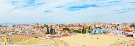 Panoramic view of the city of Seville from the observation platf. Seville, Spain - June 08, 2017 : Panoramic view of the city of Seville from the observation Stock Photography
