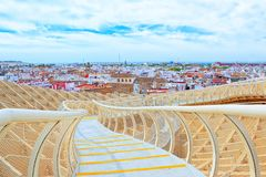 Observation platform Metropol Parasol, locally also known as Las. Seville, Spain - June 08,2017: Panoramic view of the city of Seville from the observation Royalty Free Stock Photography
