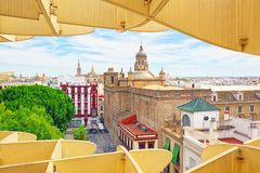 Panoramic view of the city of Seville from the observation platf. Seville, Spain - June 08,2017: Panoramic view of the city of Seville from the observation Stock Image