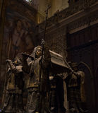 Seville, Spain - June 19: The tomb of Christopher columbus insid Royalty Free Stock Photos