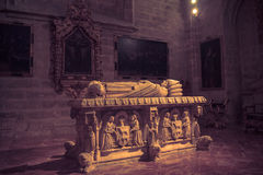 Seville, Spain - June 19: The tomb of a saint in the gothic cath. The tomb of a saint in the gothic cathedral in Seville, Spain, Europe on June 19, 2017 Royalty Free Stock Images