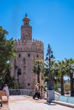 Seville Spain May 8th 2019 Golden tower Torre del Oro along the Guadalquivir river, Seville Spain. Seville Spain May 8th 2019 Golden tower Torre del Oro along royalty free stock photography