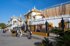 Bullfight arena, plaza de toros at Sevilla, Spain Stock Photo