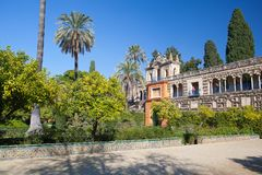 Real Alcazar Gardens in Seville. Seville, Spain - November 18,2016: Real Alcazar Gardens in Seville.The Alcazar of Seville is a royal palace in Seville, Spain Royalty Free Stock Photography