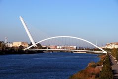 Barqueta bridge, Seville, Spain. View of the Barqueta bridge Puente de la Barqueta over the Guadalquivir river, Seville, Seville Province, Andalusia, Spain stock photography