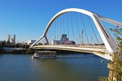 Barqueta bridge, Seville, Spain. View of the Barqueta bridge Puente de la Barqueta over the Guadalquivir river, Seville, Seville Province, Andalusia, Spain royalty free stock photos