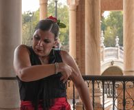 SEVILLE, SPAIN - OCTOBER 01, 2017: Young Spanish woman dancing S Royalty Free Stock Images